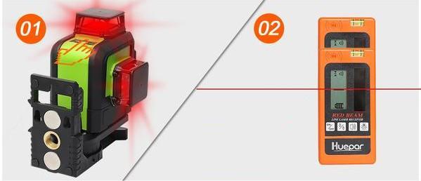 Laser Huepar 903CR avec récepteur